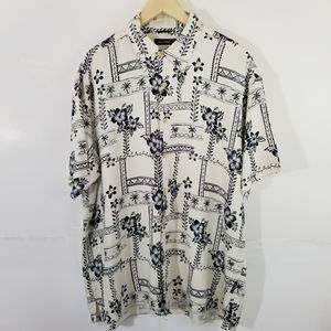 NAUTICA Black & White Hawaiian 100% Silk Shirt